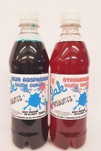 2-x-500ml-BOTTLES-SLUSH-PUPPY-SYRUPS-SNOW-CONE-SYRUP-BLUE-RASPBERRY-amp-STRAWBERRY