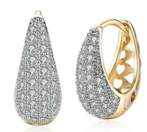 14K-Gold-Plated-White-Topaz-Pave-Huggie-Earring-with-Swarovski-Crystal-ITALY