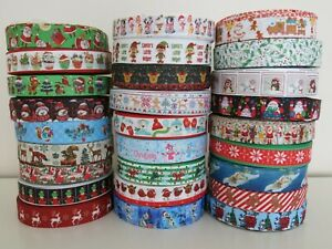 Christmas-Grosgrain-Ribbon-Dummy-Hair-Clips-Cake-Craft-Hair-Bow-1-Meter-22-25mm