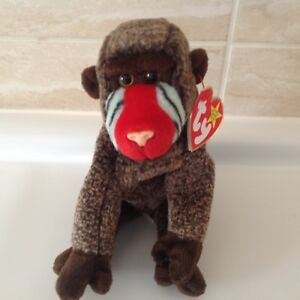 Image is loading Original-Ty-Beanie-Baby-CHEEKS-the-baboon-monkey- d14755bbd7f