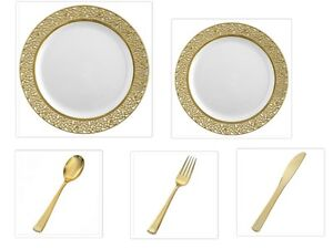 Image is loading White-w-Gold-Lace-China-like-Plastic-Plates-  sc 1 st  eBay & White w/Gold Lace China-like Plastic Plates Cutlery Set 500 Pieces ...