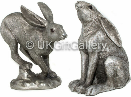 2 Hare Ornaments Antique Silver Finish Resin Sculpture Ornament Ideal Gifts New