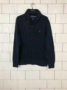 Tommy-Hilfiger-Vintage-Retro-Urban-Pullover-Pulli-navy-blau-Herren-Groesse-Small
