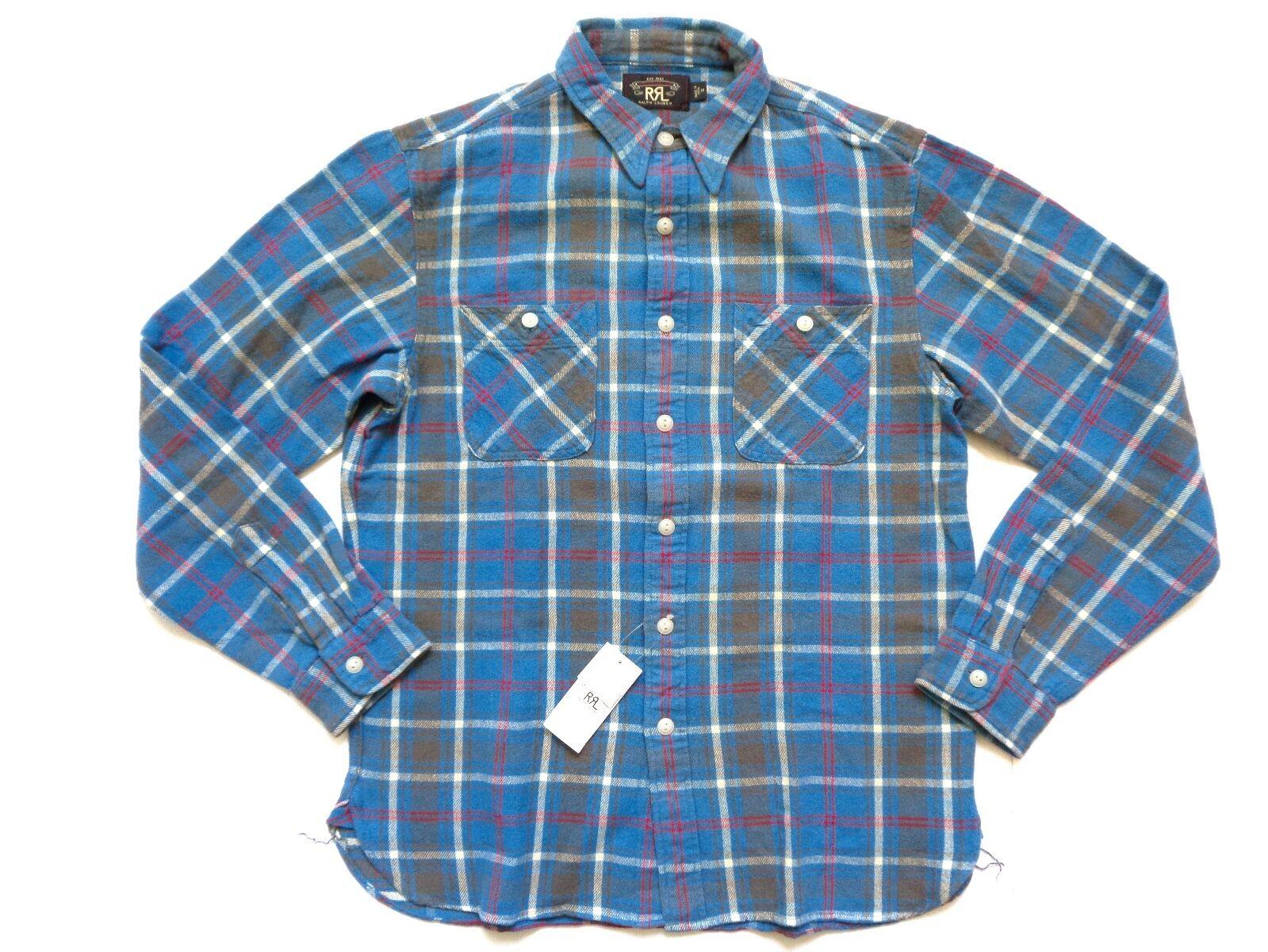 New Ralph Lauren RRL bluee w  Red Plaid 100% Cotton Button Up Work Shirt SLIM M
