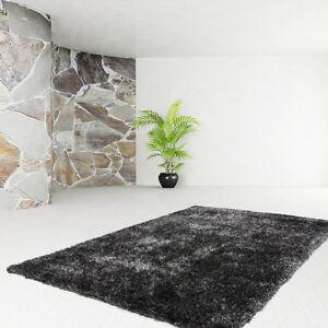 Poils-Longs-Tapis-de-Qualite-Uni-Shaggy-Moderne-Anthracite-80x150