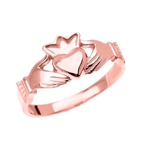 Fine Or Rose Dainty Femmes Claddagh Crown Ring