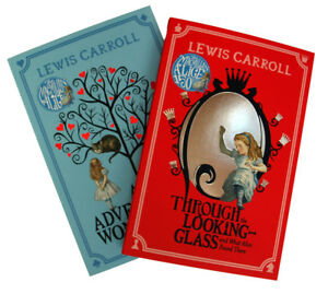 Alice-in-Wonderland-amp-Through-the-Looking-Glass-2-Book-Set-by-Lewis-Carroll-New