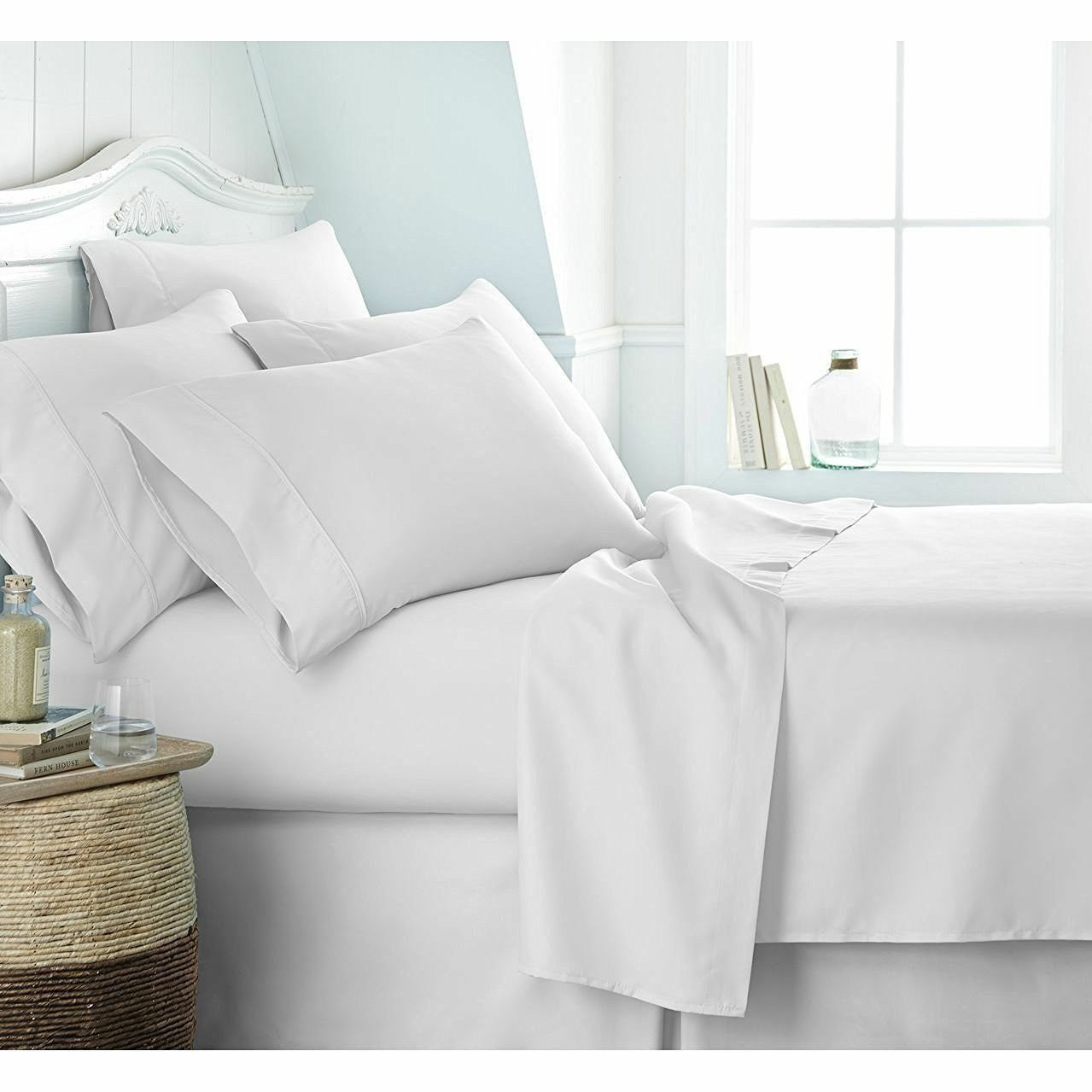 BRANDED BEDDING ITEM 100% Egyptian Cotton White Solid 800 Thread Count