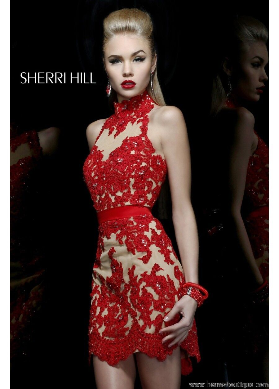 21213 Sherri Hill Red Lace Party Evening Formal Prom Prom Prom Gown Dress Size USA 8 0bca29