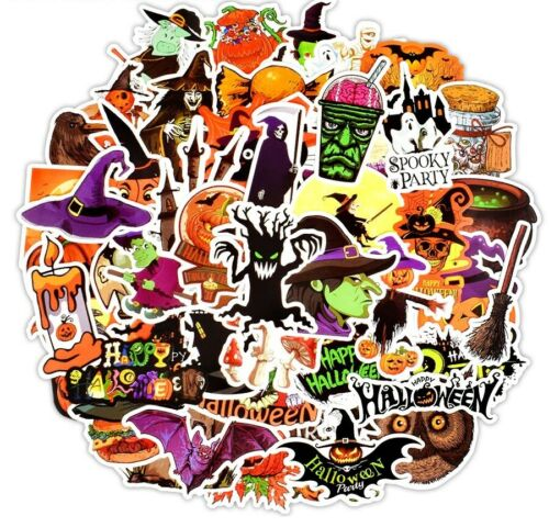 50 PCS Halloween Funny Stickers Gift All Hallow Mas Pumpkin Witch Cute Cool Graf