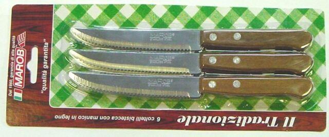 Set 6 Coltelli da Tavola Bistecca con manico in legno Marietti