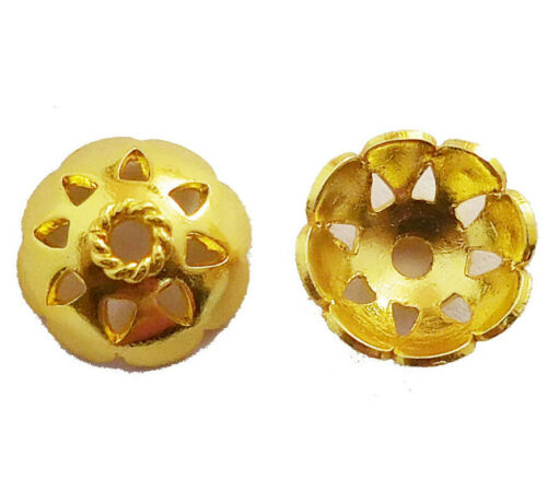 28 PIECES 12MM BALI BEAD CAP 18K GOLD PLATED 248 G31-C286