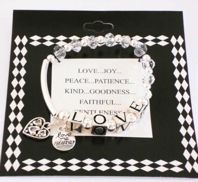 "Inspirational Romance ""LOVE one Another"" Silver Charm Beaded Bracelet Bangle"