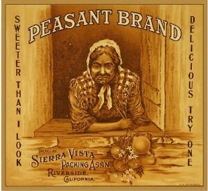 Riverside Peasant Orange Citrus Crate Label Art Print