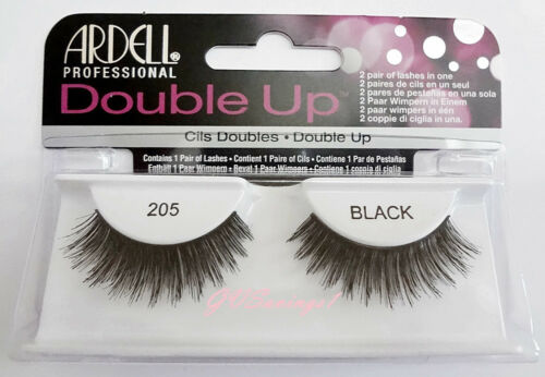 (LOT OF 10) Ardell DOUBLE UP LASHES #205 False Fake Eyelashes Black Thick Full