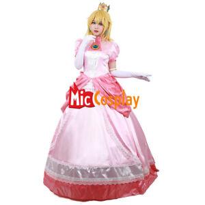 Princess-Peach-Cosplay-Costume-Adult-Women-Girl-Halloween-Pink-Fancy-Dress