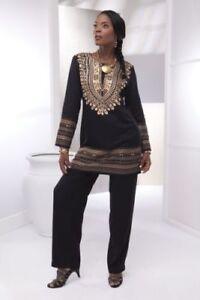 Ashro Ethnic African American Pride Gold Black Dashiki Pant Set S M Xl 1x 2x 3x