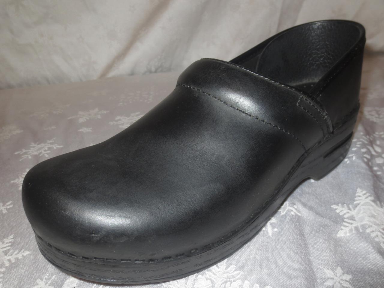 Dansko Femme en Cuir Noir Professionnel Sabots Chaussures Sandales Taille 40 US 9.5 10