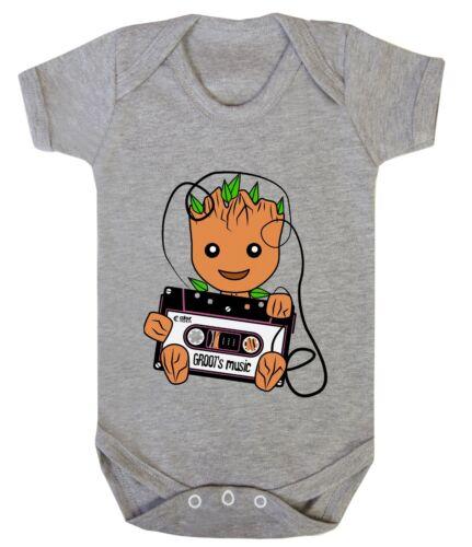 GUARDIANS Groot Music Galaxy 0-24 Baby Shower Gift Girl Boy Bodysuits Babygrow