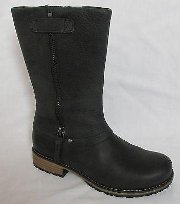 BNIB Clarks Girls Kelpie Blaze Black Leather Boots F & G Fitting