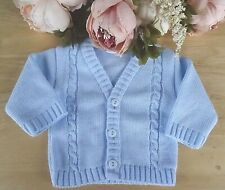 Baby Babies Boys Button Up Cardigan Blue Cable Knitted V Neck NB 3 6 12 24 M 553