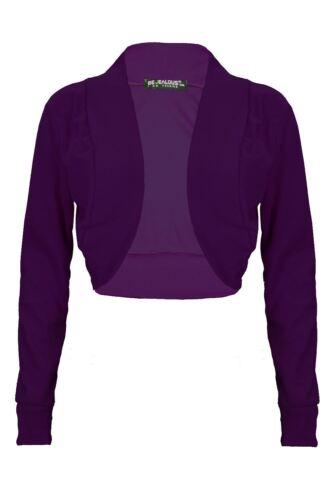 Womens Ladies Ribbed Long Sleeve Cotton Bolero Cardigan Shrug Crop Top Plus Size