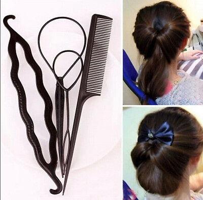 New Fashion 4pcs Women Girls Hair Styling Clip Stick Bun Maker Braid Tool