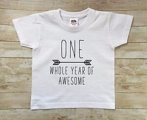 Image Is Loading One Whole Year Of Awesome Tshirt First Birthday