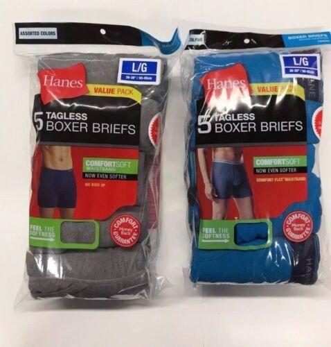 Hanes Tag less Boxer Briefs 10 Pack Mens Assorted Colors /& Bands S M L XL !!