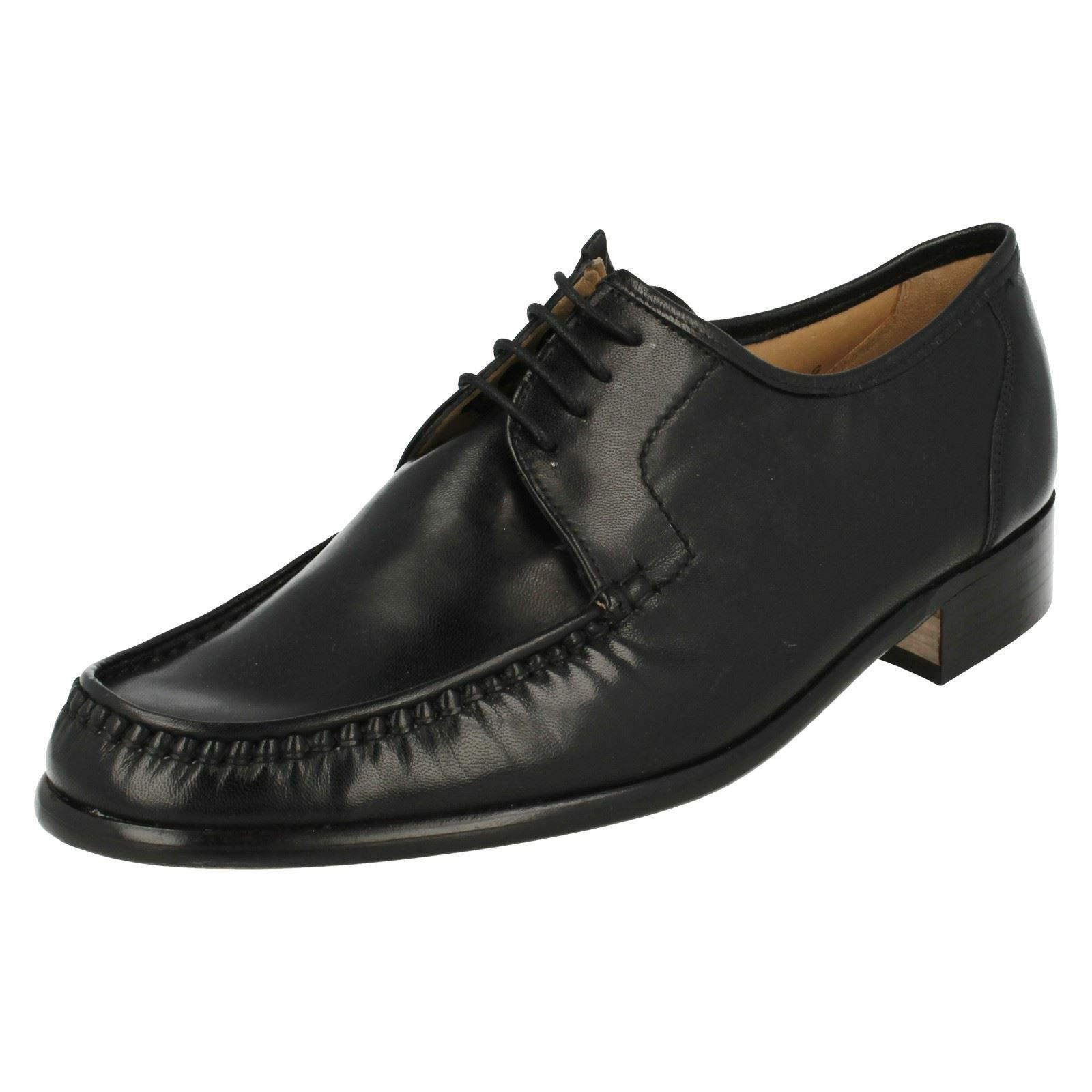 Mens Black leather Grenson Crewe 33343 lace-up G fitting