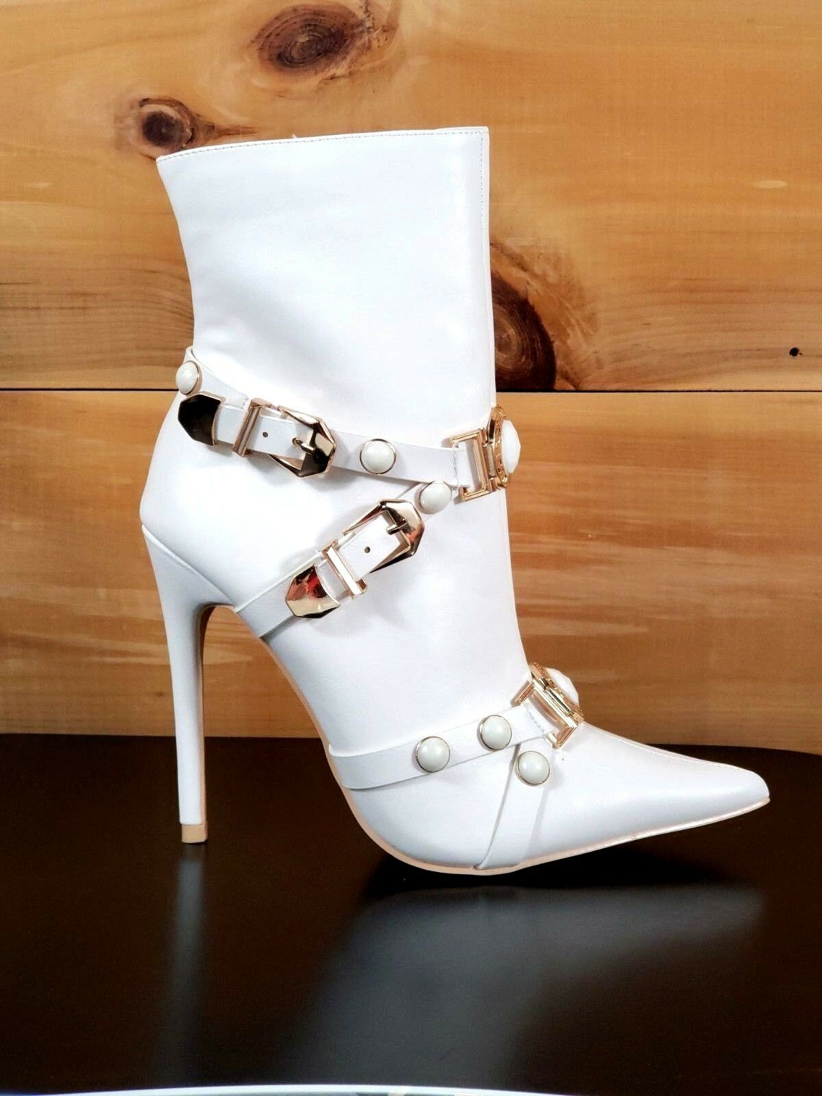 Mac J  White Pointy Toe gold Buckle Harness Strap High Heel Ankle Boot 7- 11