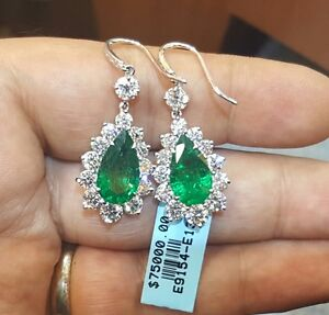 Image Is Loading 18k White Gold Natural Colombian Emerald Earrings 10