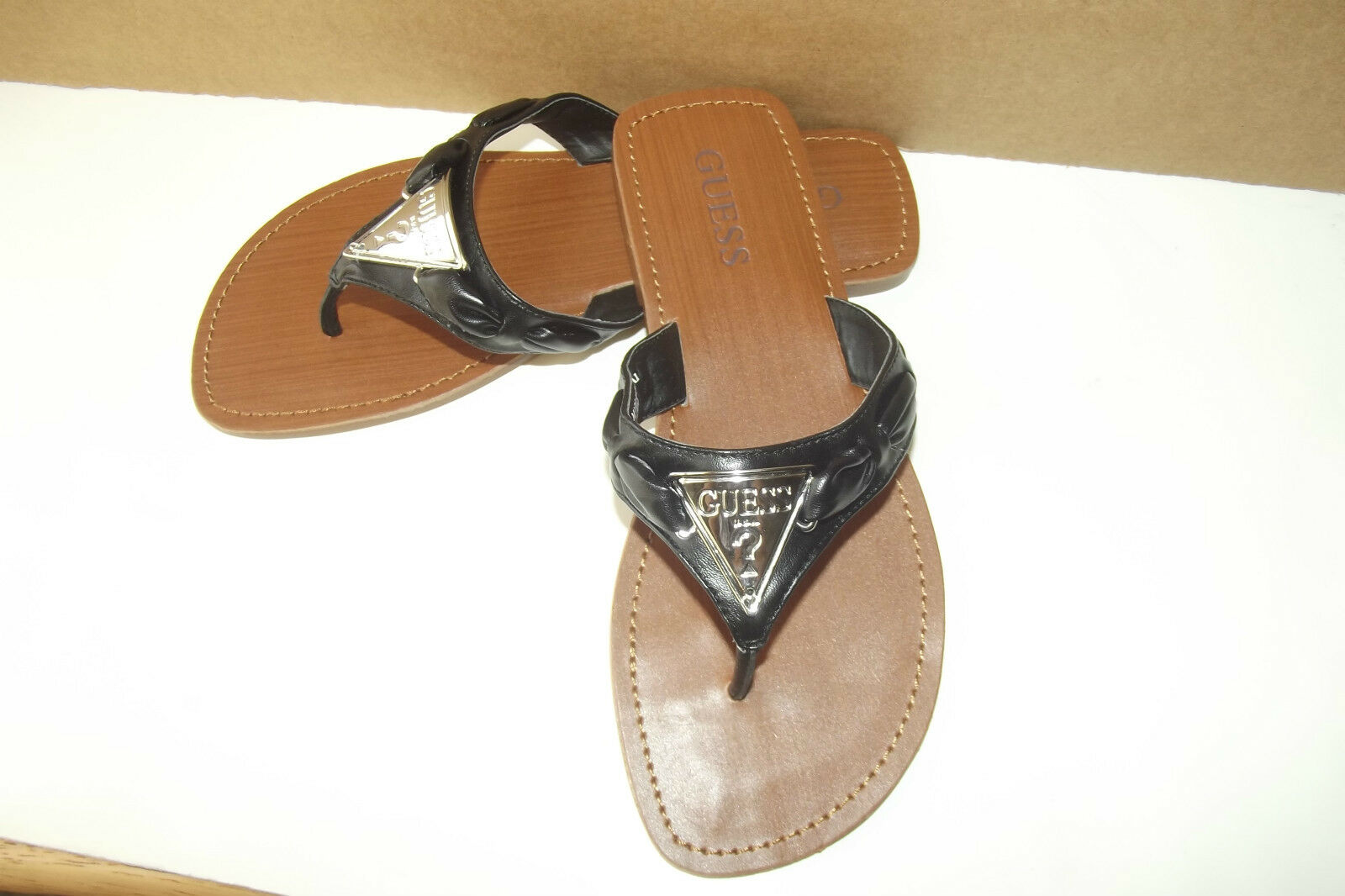 NEW WITH TAG GUESS GFCELY BLACK FLIP FLOPS SANDALS SHOES SZ. 6M LQQK
