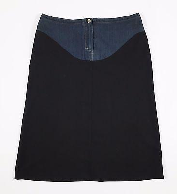 Abbigliamento E Accessori Denny Rose Gonna Jeans Tessuto S Doppio Colore Nero Blu Vita Bassa Usato T456 Donna: Abbigliamento
