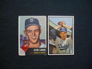 1953-Topps-Bowman-14-Clem-Labine-Billy-Loes-Baseball-Card-Lot-2-Brooklyn-Dodger