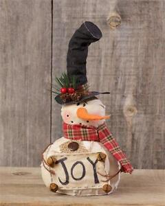 214aa8500feae New Country Primitive Rustic Christmas JOY Top Hat Snowman Doll 10 ...