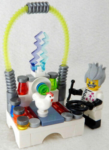 NEW LEGO MAD SCIENTIST Zapping a Chicken SET minifig science lab minifigure