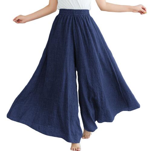 ZANZEA Femme Décontracté lâche Jambe Large Taille elastique Loisir Pantalon Plus