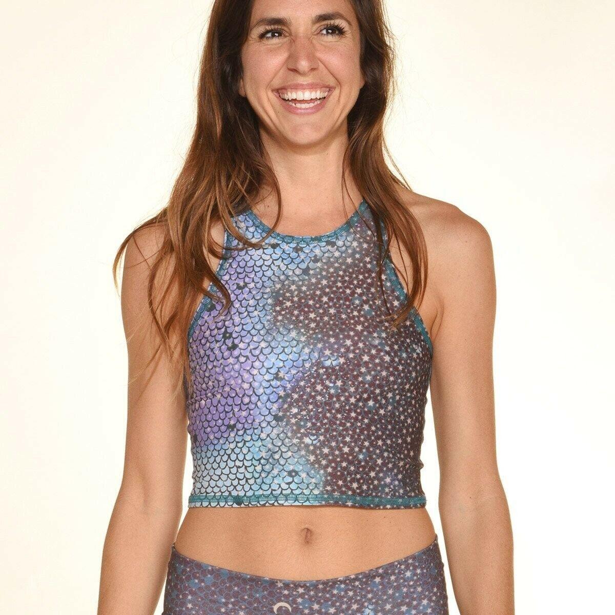 Teeki Womens Yoga Top XS/S Pilates Blue Mermaid Fairy Queen US Anti Microbial