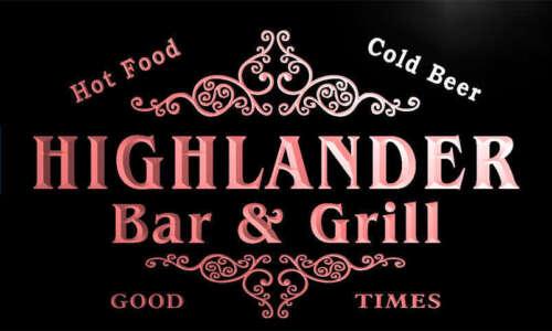 u20120-r HIGHLANDER Family Name Bar /& Grill Home Beer Food Neon Sign