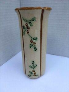 WJW-Pottery-Vase-48-Beige-Brown-Acorns-Leaves-5-1-2-034-Tall-Column-Shape-Vintage