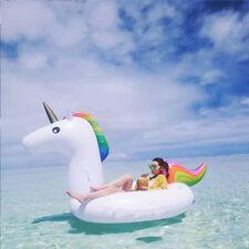 Inflatable Rainbow Unicorn Water Float Swimming Pool Lounger Beach Fun