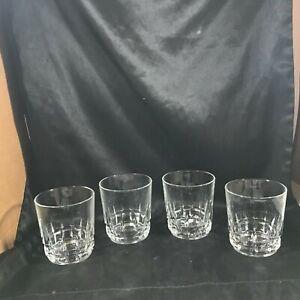 Set-of-4-Vintage-Heavy-Clear-Cut-Glass-Block-Bottom-3-5-Tumblers