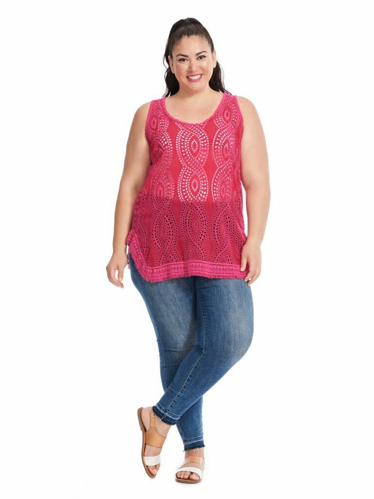 Johnny Was Womens Top Plus Size 4X Top Eyelet Boho Hoxie Style Pink Embroidered