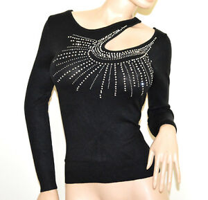 PULL-NOIR-femme-manches-longues-chandail-maillot-pullover-elegant-strass-A5