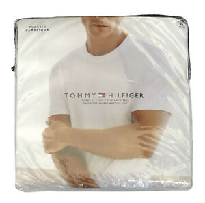 Tommy-Hilfiger-Men-039-s-Three-Classic-Short-Sleeve-Crew-Neck-Plain-Tees-Free-Ship