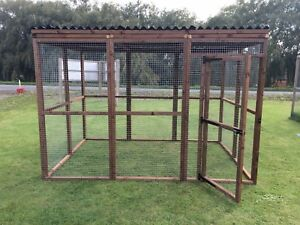 Details about Covered Walk In Animal Run 6ft x 9ft Strong 16G Dog Cat  Chicken Pet Enclosure