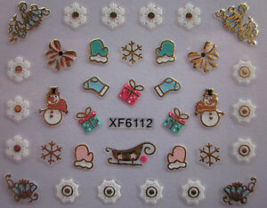Christmas-3D-Nail-Art-Stickers-Decals-Gold-Snowflakes-Bows-Snowman-Lace-XF6112