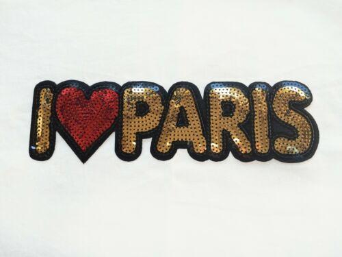1x Grand Paillettes I LOVE PARIS Patch Iron on Brodé Applique Coeur Romantique
