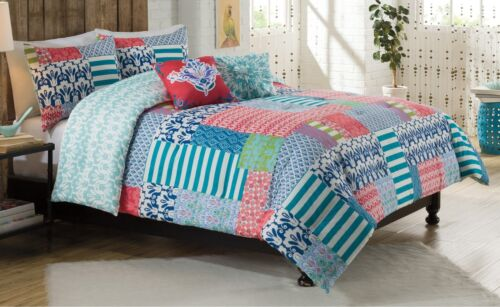 5-Pc Vue Cha Cha King Comforter Set Pillow Stripe Floral Patchwork Bohemian Chic
